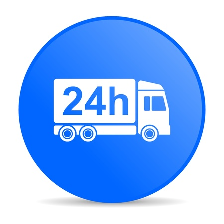 delivery 24h blue circle web glossy icon  photo