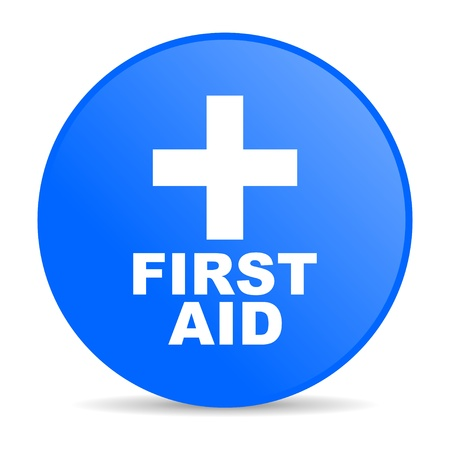 first aid blue circle web glossy icon Stock Photo - 19304689