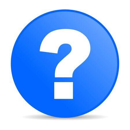 question mark blue circle web glossy icon  photo