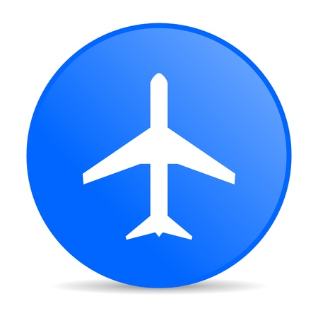 airplane blue circle web glossy icon  photo