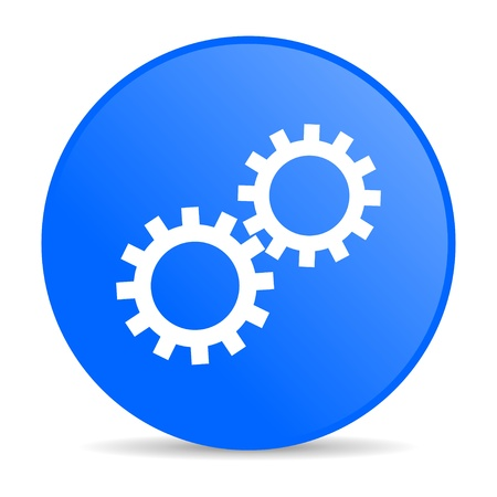 gears blue circle web glossy icon  photo