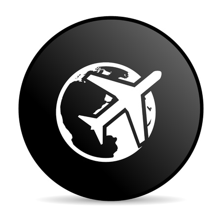 travel black circle web glossy icon  photo