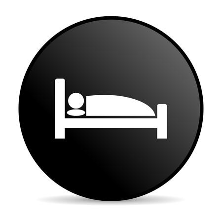 hotel black circle web glossy icon  photo
