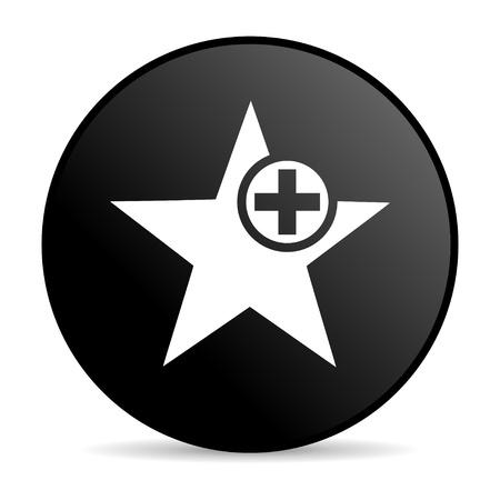 star black circle web glossy icon Stock Photo - 19302782