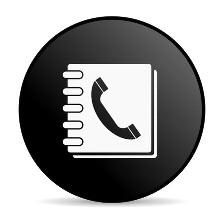 Książka telefoniczna czarny błyszczący ikona koło internetowej