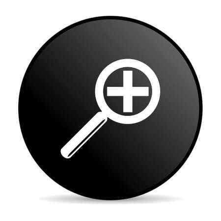 magnification: magnification black circle web glossy icon