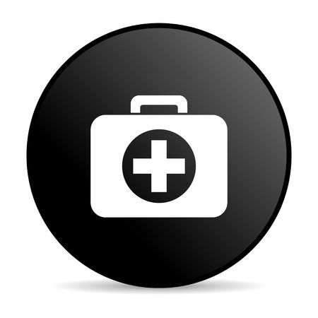 first aid kit black circle web glossy icon  photo