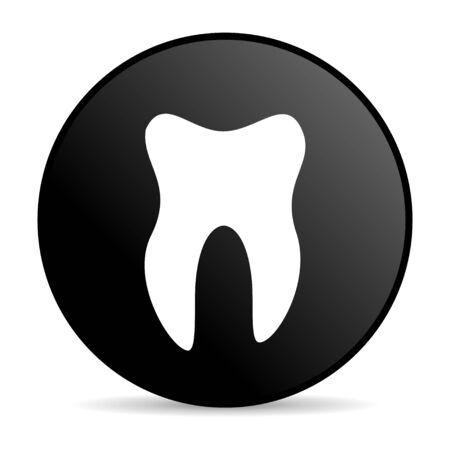 tooth black circle web glossy icon  photo