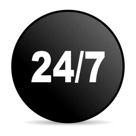 24/7 black circle web glossy icon Stock Photo - 19302614