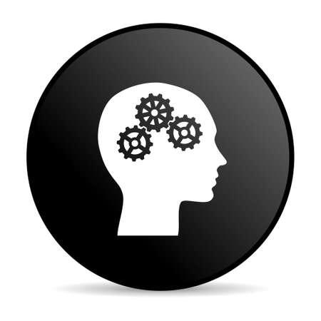brainy: head black circle web glossy icon