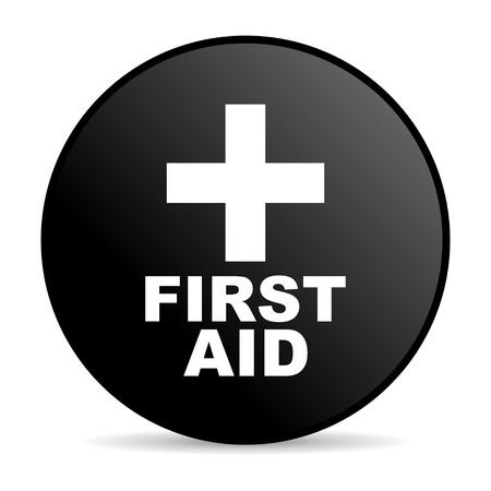 first aid black circle web glossy icon  photo