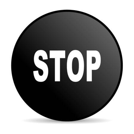 stop black circle web glossy icon Stock Photo - 19302623