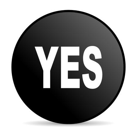 yes black circle web glossy icon Stock Photo - 19302450