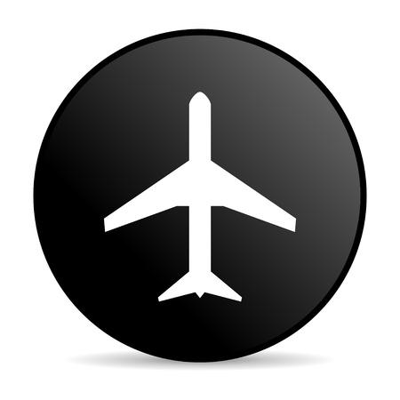 airplane black circle web glossy icon  photo