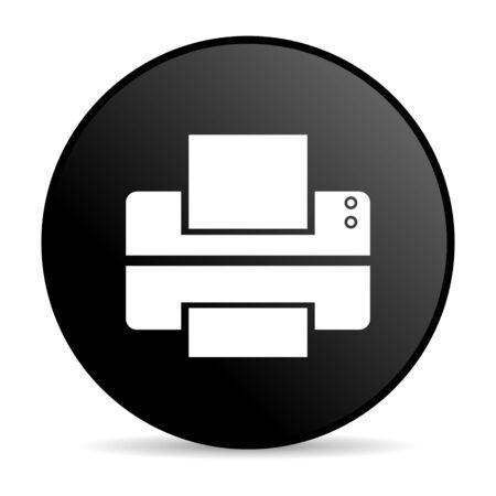 printer black circle web glossy icon  photo