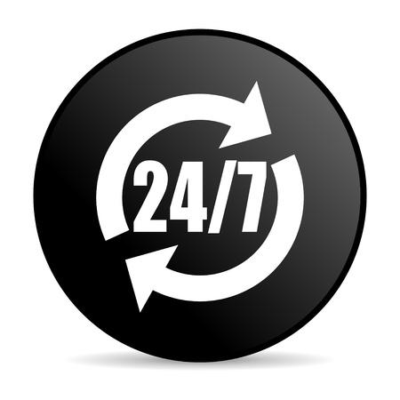 24 7: 247 service black circle web glossy icon