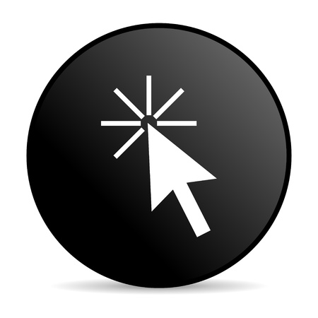 click here: click here black circle web glossy icon  Stock Photo