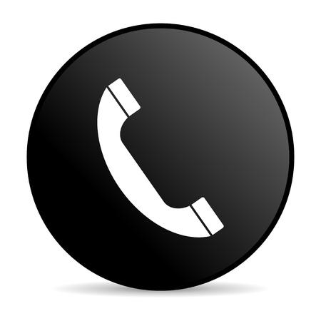 phone black circle web glossy icon  photo