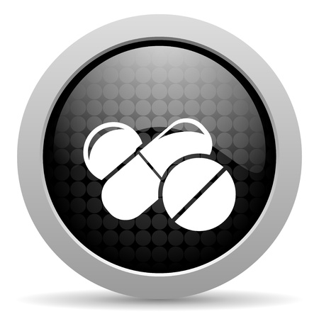 pills black circle web glossy icon  photo