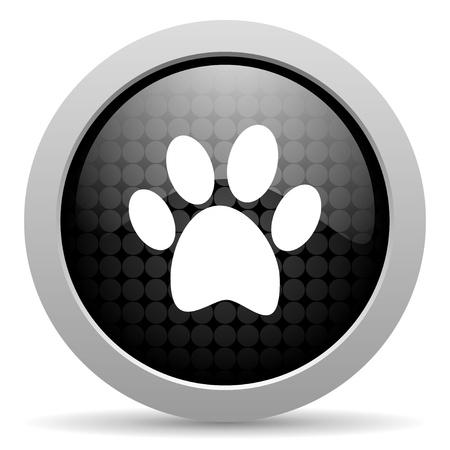 animal footprint black circle web glossy icon Stock Photo - 19347446