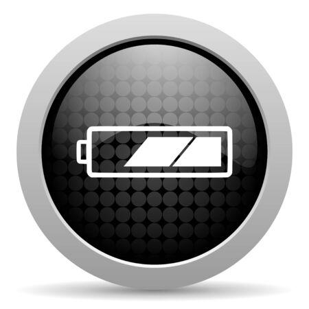 accuse: battery black circle web glossy icon  Stock Photo
