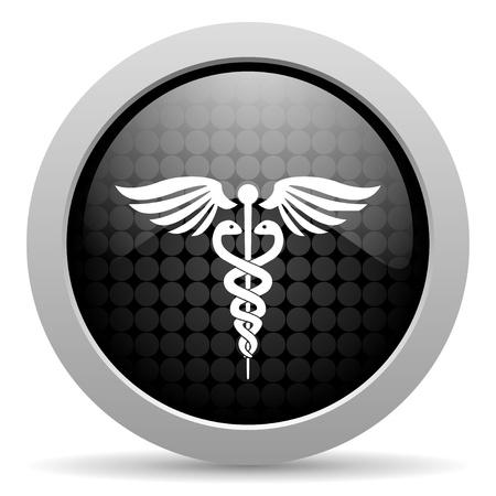 caduceus black circle web glossy icon  photo