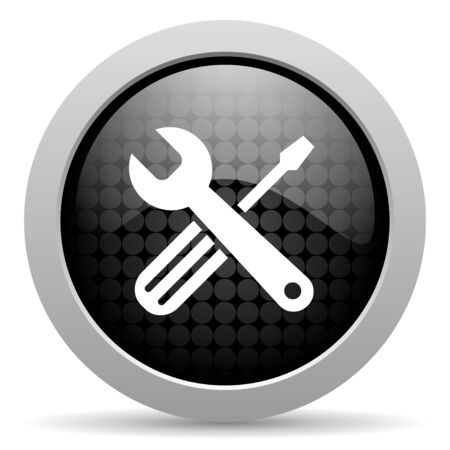 tools black circle web glossy icon  photo