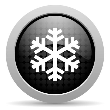 snowflake black circle web glossy icon