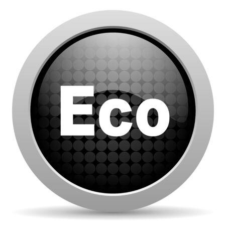 eco black circle web glossy icon  photo
