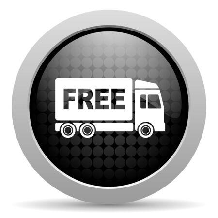 d�livrance: livraison gratuite cercle noir web ic�ne sur papier glac� Banque d'images