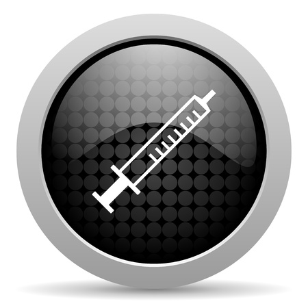 syringe black circle web glossy icon   photo