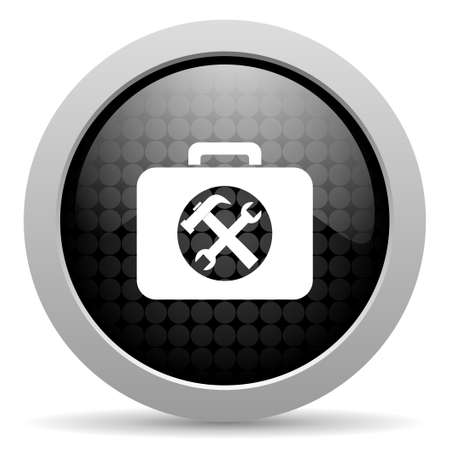 toolkit black circle web glossy icon    photo