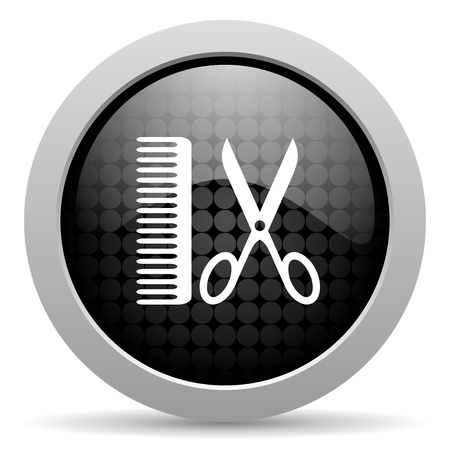 barber black circle web glossy icon  photo
