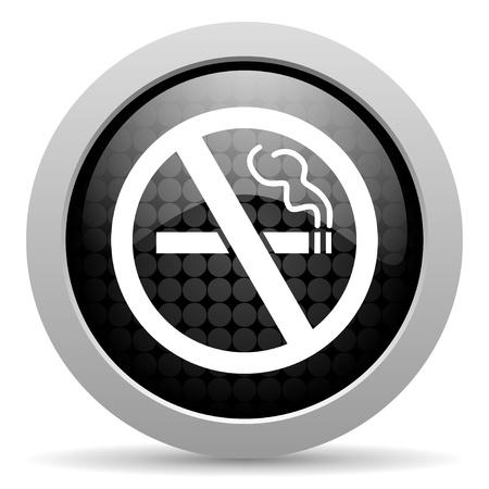 no smoking black circle web glossy icon Stock Photo - 19347777