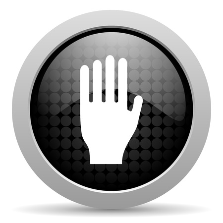 stop black circle web glossy icon Stock Photo - 19347422