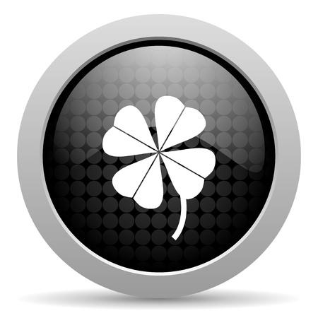 four-leaf clover black circle web glossy icon     photo