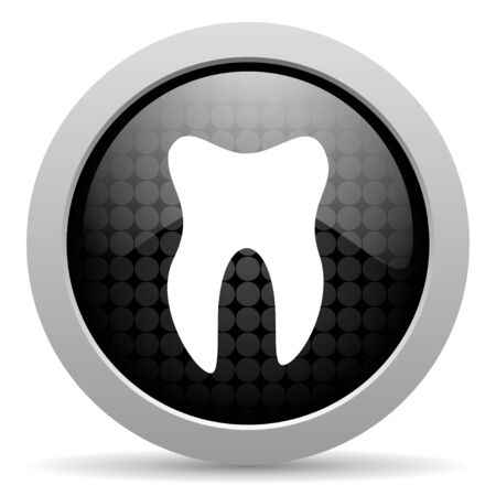 tooth black circle web glossy icon   photo