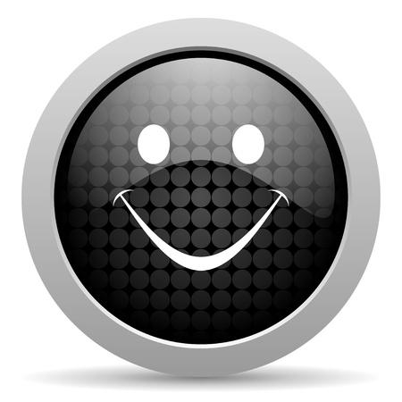 smile black circle web glossy icon Stock Photo - 19347872