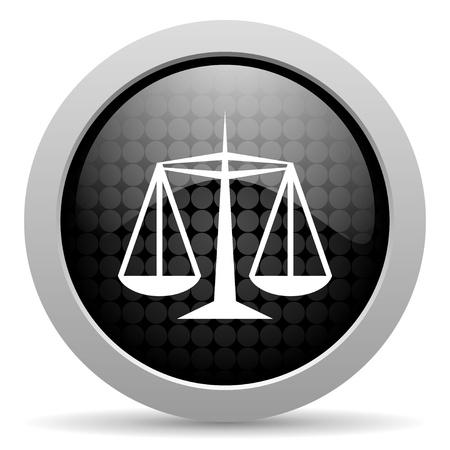 Gerechtigkeit schwarzen Kreis web glossy icon