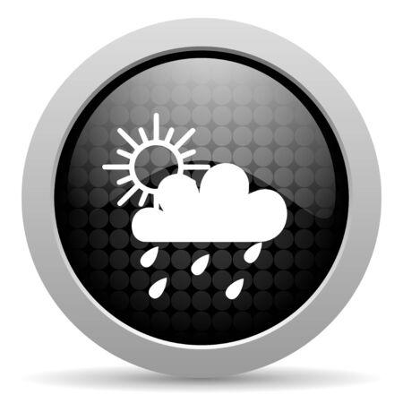 meteo: weather forecast black circle web glossy icon  Stock Photo