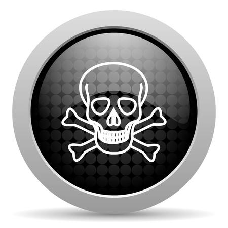 skull black circle web glossy icon Stock Photo - 19348232
