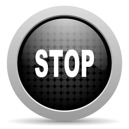 stop black circle web glossy icon Stock Photo - 19347690