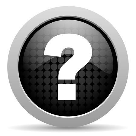 question mark black circle web glossy icon  photo