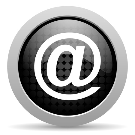 email us: at black circle web glossy icon  Stock Photo