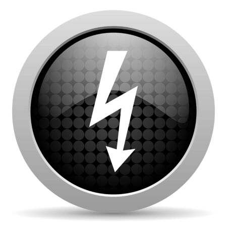 lightning black circle web glossy icon  photo