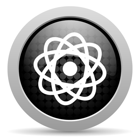 atom black circle web glossy icon Stock Photo - 19347859