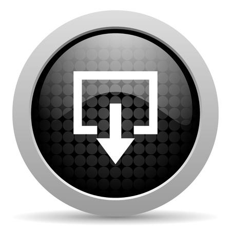 exit black circle web glossy icon Stock Photo - 19347604