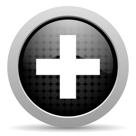 emergency black circle web glossy icon  photo