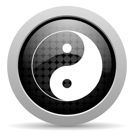 ying yang black circle web glossy icon  photo