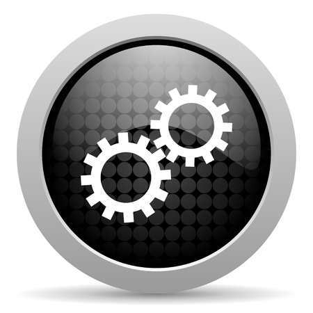 gears black circle web glossy icon  photo